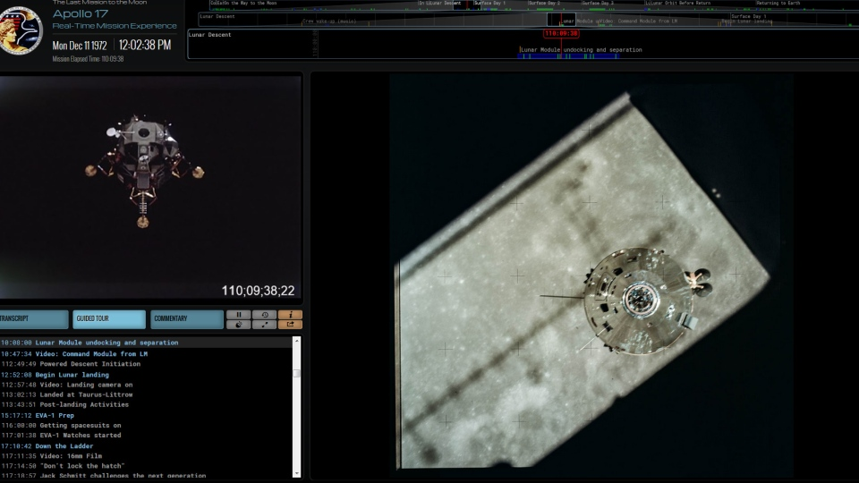 A screen grab shows video, transcripts and a photo from part of the Apollo 17 mission. (Apollo17.org)
