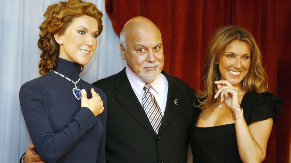 Celine Dion, right, stands with a wax figure of herself and her husband Rene Angelil before her 500th performance at Caesars Palace in Las Vegas on Sunday, May 7, 2006. The figure was prepared by the Grevin waxworks company of Paris. THE CANADIAN PRESS/AP-Isaac Brekken