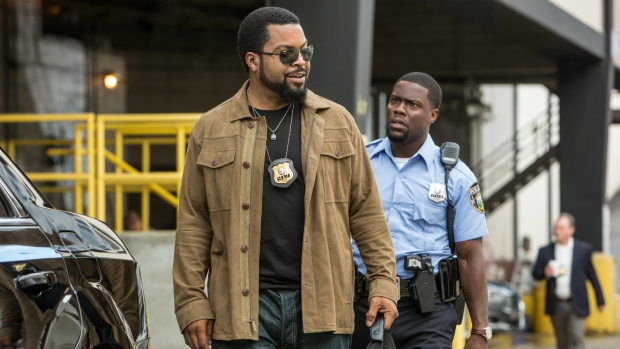 Ice Cube, left, as James Payton and Kevin Hart as Ben Barber in a scene from the film, 'Ride Along 2.' (Quantrell D. Colbert / Universal Pictures)