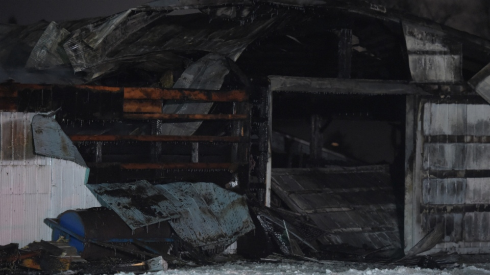 The aftermath of a fire in Mount Forest, Ont. that killed at least 12 horses.