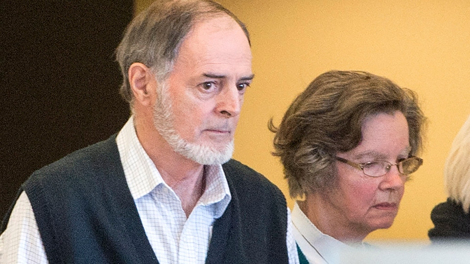 Real Turcotte and Marguerite Fournier, parents of Guy Turcotte, leave the courtroom after their son was sentenced to life in prison with no parole for 17 years at the courthouse, in Saint Jerome, Que., Friday, Jan. 15, 2016. (Ryan Remiorz / THE CANADIAN PRESS)