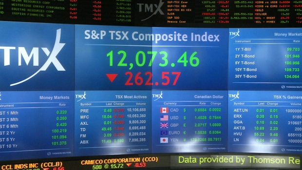 The S&P/TSX composite index dropped 262.57 points or 2.13 per cent to 12,073.46 on Friday, Jan. 15, 2016.