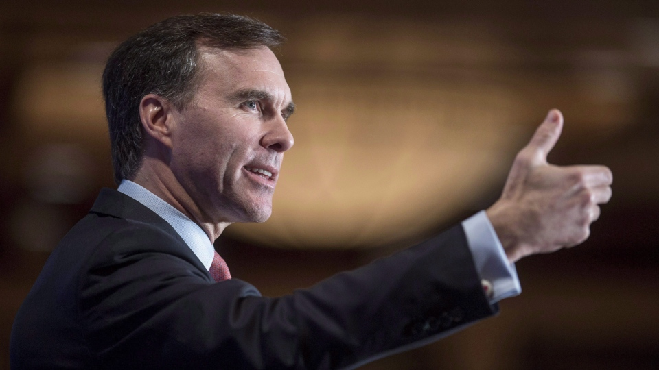 Finance Minister Bill Morneau delivers a speech in Montreal on January 12, 2016. Morneau met Friday with members of the Calgary Chamber of Commerce and leaders from the energy and environmental sectors as low oil prices continue to gnaw at Alberta's economy. (Paul Chiasson / THE CANADIAN PRESS)