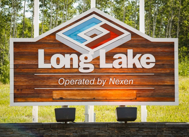 A sign at Nexen Energy's Long Lake facility near Fort McMurray, Alta., Wednesday, July 22, 2015. (THE CANADIAN PRESS / Jeff McIntosh)