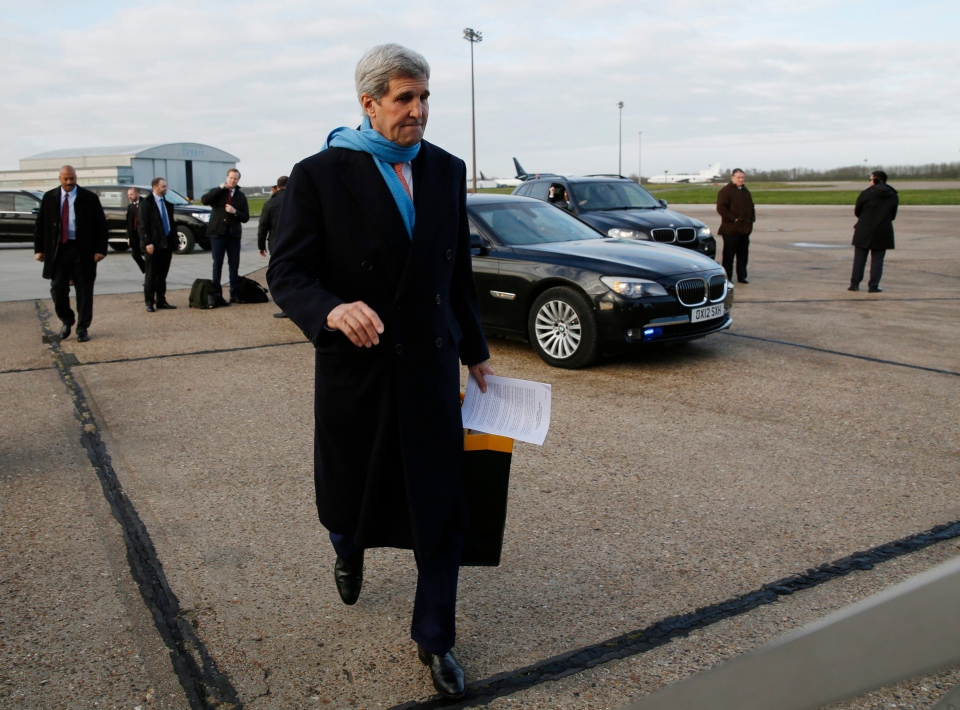U.S. Secretary of State, John Kerry, departs London on his way to Vienna, Austria for what is expected to be 'implementation day' of the Iran nuclear deal following the release of the final report issued by the International Atomic Energy Agency (IAEA) Saturday, Jan. 16, 2016. (Kevin Lamarque/Pool Photo via AP)