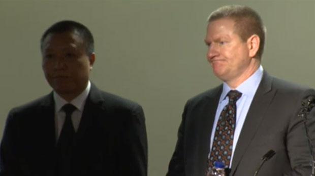 Nexen CEO, Fang Zhi, and Senior VP of Canadian Operations, Ron Bailey, address the media following fatal explosion at Long Lake facility