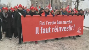 Teachers march in Montreal in this file photo