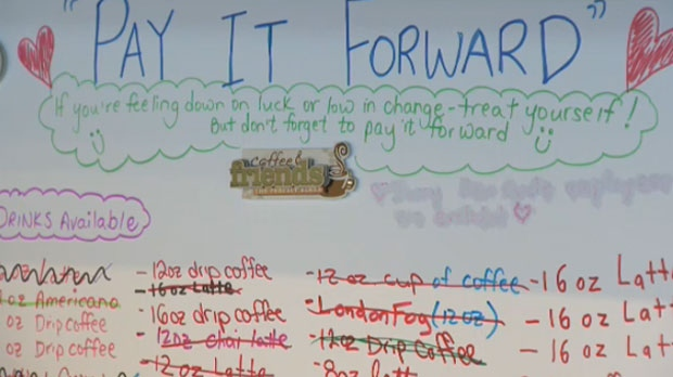 The 'Pay It Forward' chart at Cadence Coffee in Bowness