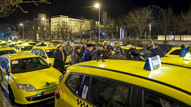 Uber protest in Budapest