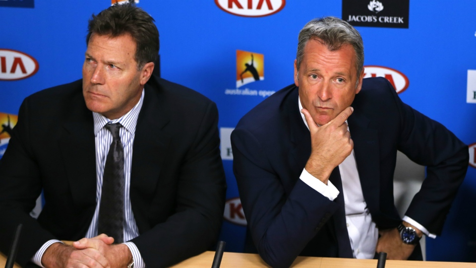 ATP chairman Chris Kermode, right, and vice chairman Mark Young listen to reporter's question during a press conference at the Australian Open tennis championships in Melbourne, Australia on Monday, Jan. 18, 2016. (AP / Shuji Kajiyama)