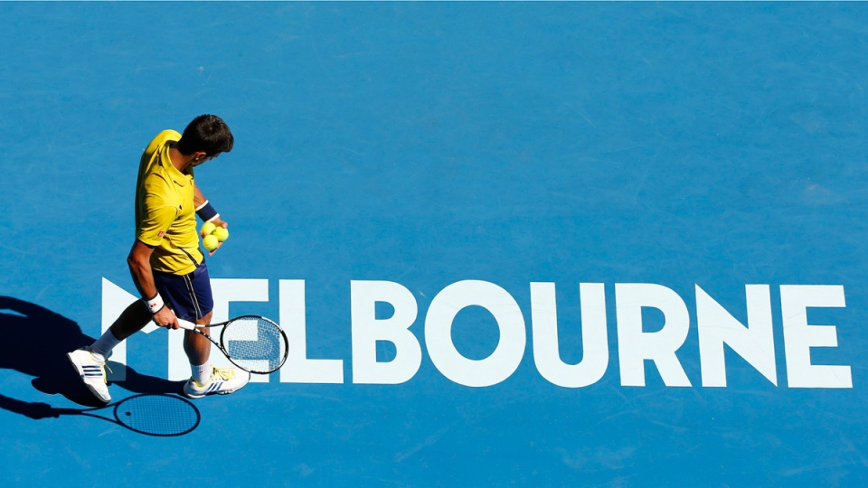 Novak Djokovic during his first round match at the Australian Open tennis championships in Melbourne, Australia, on Jan. 18, 2016. (Vincent Thian / AP)