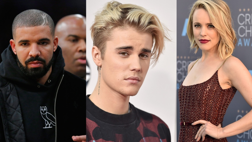 In this composite photo Drake, Justin Bieber and Rachel McAdams appear. (Photos from AP)