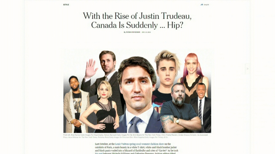 The New York Times article deems Canada 'suddenly hip.'