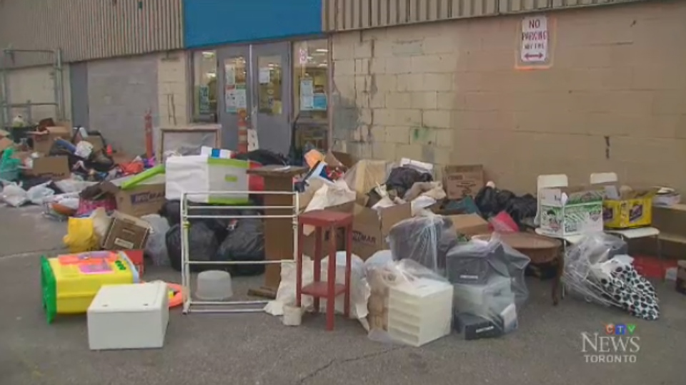 Donations piled up outside Goodwill stores and donation centres after the charity closed 26 locations in Ontario.