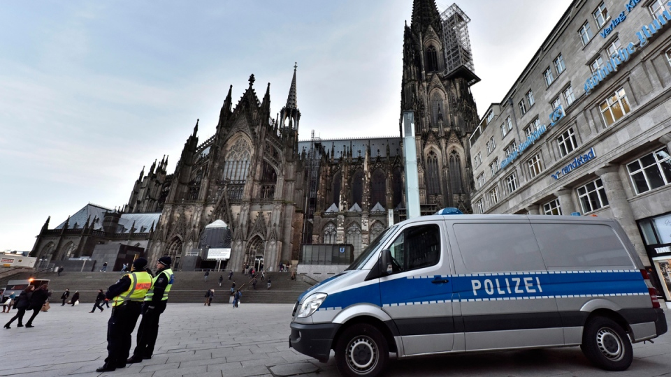 Police patrol the main train station and cathedral in Cologne, Germany, on Jan. 18, 2016. (Martin Meissner / AP)