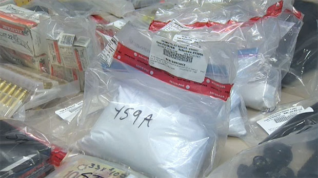 Police seized over 12,000 rounds of ammunition, nine guns, cash and drugs in an organized crime investigation.