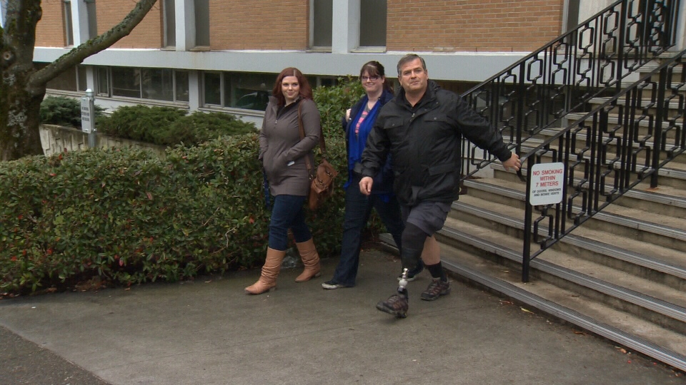 Ron Broda, a former Saanich police officer, leaves B.C. Supreme Court in Victoria with his family, Mon. Jan 18, 2016. (CTV Vancouver Island)