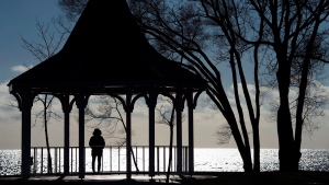 A woman is silhouetted as she overlooks Lake Ontario while walking her dog at Long Branch Park during a cold day, in Toronto, on Tuesday, Jan. 5, 2016. (Nathan Denette / THE CANADIAN PRESS)