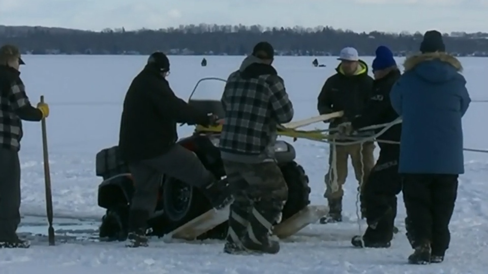 After a few hours, the ATV was pulled from the lake.