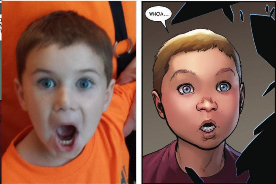 Max Levy, 5, is shown alongside his artistic rendering by David Marquez in 'Invincible Iron Man #4,' from Marvel Comics. (Dan Levy)