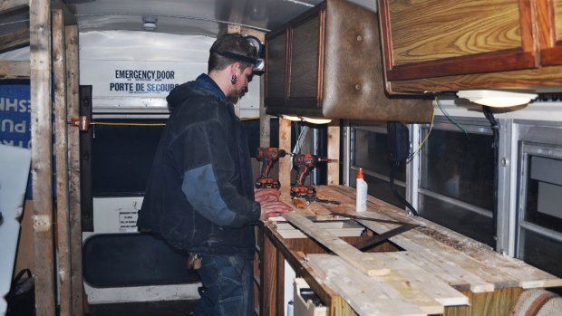 Dustin Bowers renovates school bus