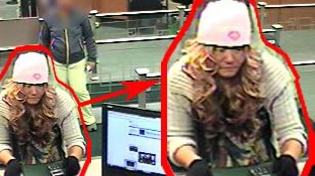 Wig-wearing bank robbery suspect