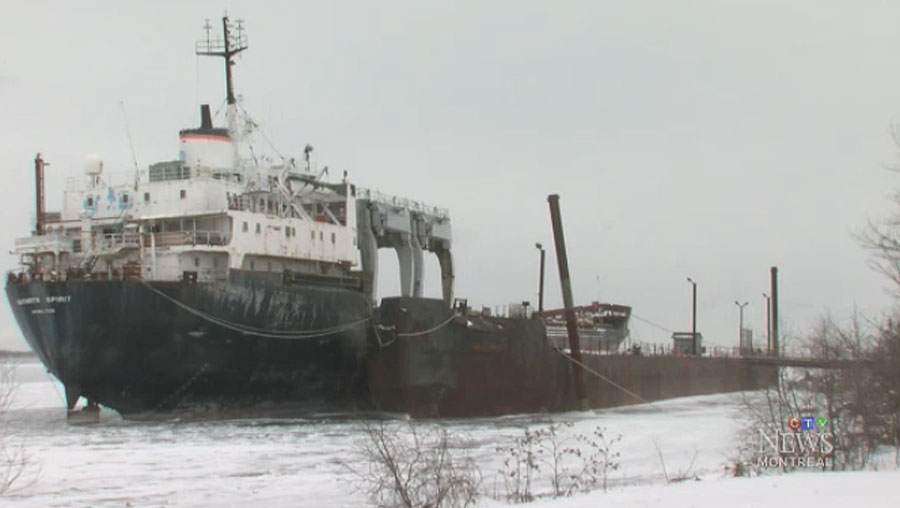 The 150-metre-long Kathryn Spirit has sat on the shores of Beauharnois for five years, waiting to be demolished.