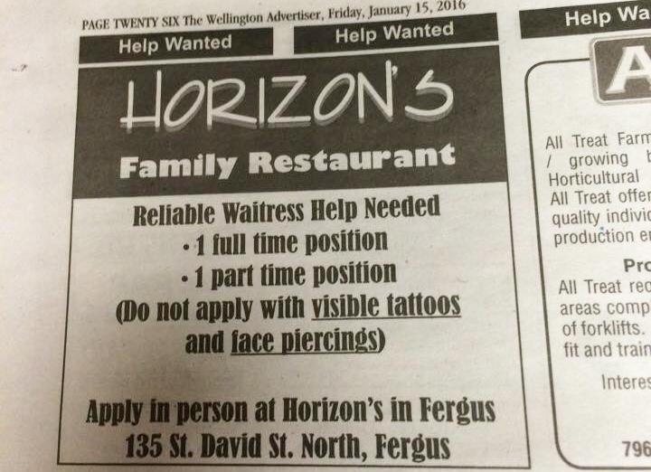 A newspaper ad touts an opening for two waitress positions at Horizon Family Restaurant in Fergus. (Scott Mooney / Twitter)