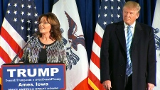 Sarah Palin at Donald Trump rally in Iowa