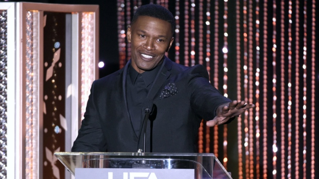 Jamie Foxx presents the Hollywood actor award at the Hollywood Film Awards at the Beverly Hilton Hotel in Beverly Hills, Calif. on Nov. 1, 2015. (Chris Pizzello / Invision)