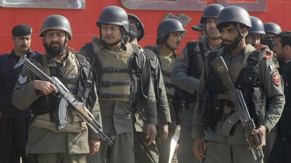 Pakistani troops arrive at Bacha Khan University in Charsadda, some 35 kilometres outside the city of Peshawar, Pakistan on Wednesday, Jan. 20, 2016. (AP / Mohammad Sajjad)