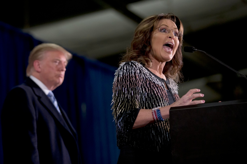 Former Alaska Gov. Sarah Palin, right, endorses Republican presidential candidate Donald Trump during a rally at the Iowa State University, Tuesday, Jan. 19, 2016, in Ames, Iowa. (AP / Mary Altaffer)