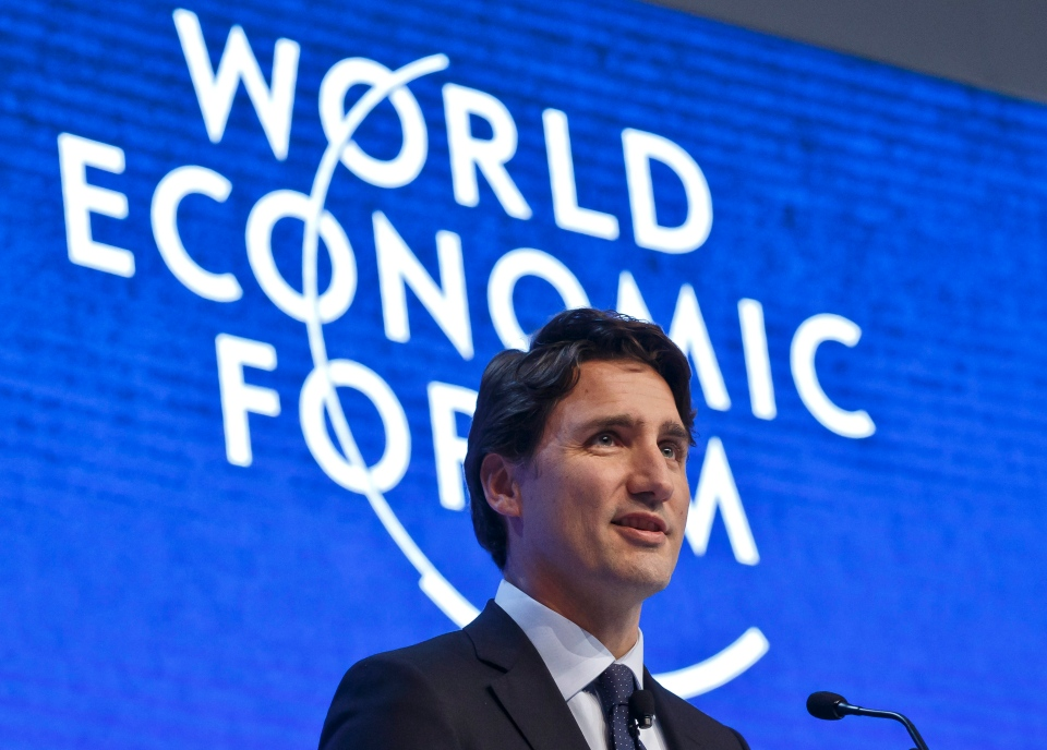 Prime Minister Justin Trudeau gestures as he speaks during a panel 'The Canadian Opportunity' at the World Economic Forum in Davos, Switzerland, Wednesday, Jan. 20, 2016. (AP / Michel Euler)