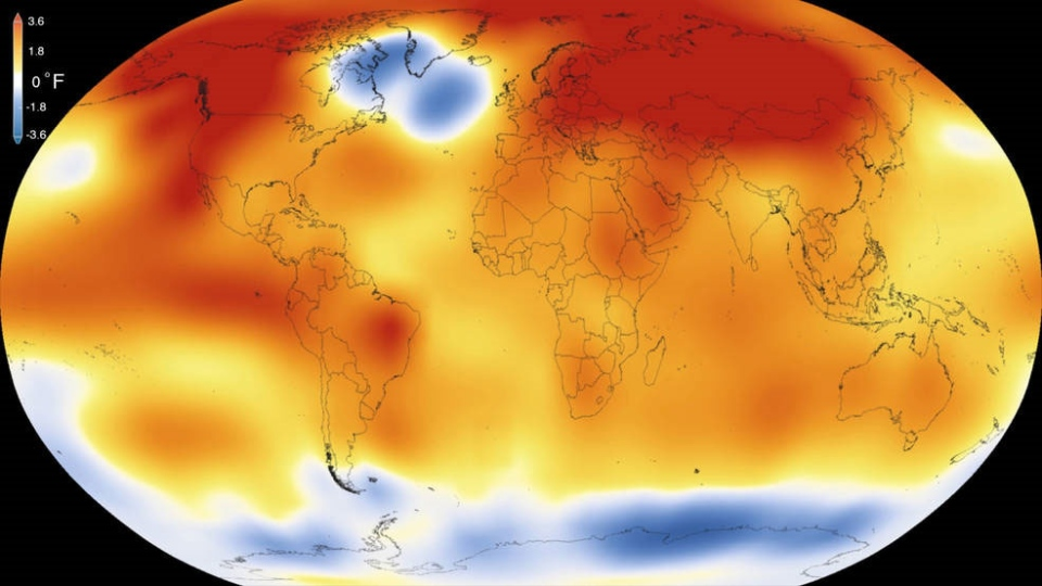 2015 was the warmest year since modern record-keeping began in 1880, according to a new analysis by NASA's Goddard Institute for Space Studies. The record-breaking year continues a long-term warming trend-  15 of the 16 warmest years on record have now occurred since 2001. (Scientific Visualization Studio/Goddard Space Flight Center)