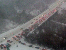A view of slow, eastbound Eglinton Avenue traffic at Wynford Dr. (For CTV.ca/Bonnie Jennings)