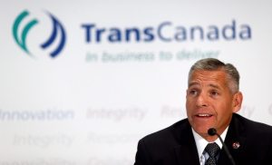 TransCanada CEO Russ Girling attends a news conference in Calgary, Alta., on Aug. 1, 2013. (Jeff McIntosh / THE CANADIAN PRESS)