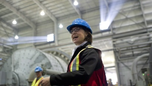 BC Liberal leader Christy Clark visits Copper Mountain Mine during a campaign stop in Princeton, B.C. on Tuesday, May 1, 2013. (Jimmy Jeong / The Canadian Press)