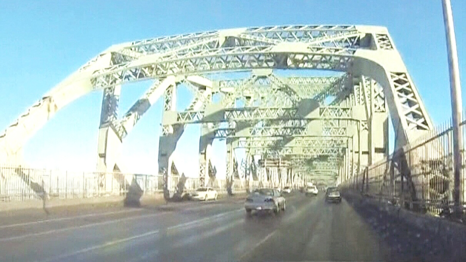 Laura Cerminara says she was driving to school when she was she stopped by a Surete du Quebec officer on the Jacques Cartier Bridge, in Montreal, Tuesday, Jan. 19, 2016.