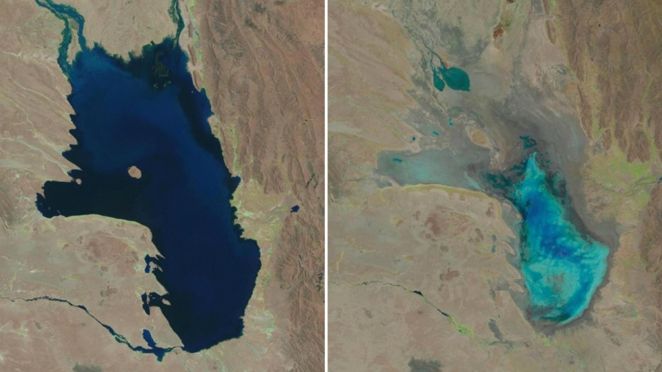This photo combo of satellite images provided by the USGS shows Lake Poopo filled with water on Oct, 11, 1986, left, and almost dry on Jan. 16, 2016, right, in Bolivia. (USGS)