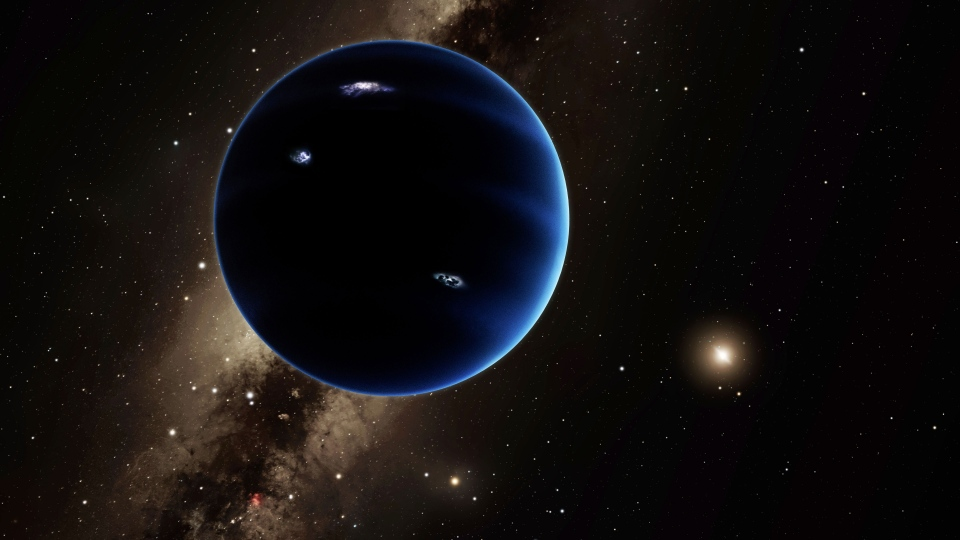 This artistic rendering provided by California Institute of Technology shows the distant view from Planet Nine back towards the sun.  (R. Hurt/Infrared Processing and Analysis Center/Courtesy of California Institute of Technology via AP)