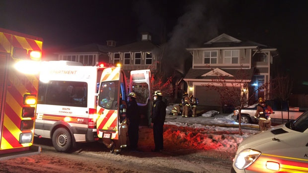 Fire crews are at the scene of a blaze at a home in the southeast Calgary community of Mahogany.