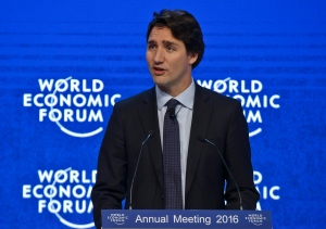 "Prime Minister Justin Trudeau speaks during a panel ""The Canadian Opportunity""at the World Economic Forum in Davos, Switzerland, Wednesday, Jan. 20, 2016. A prevailing sense of anxiety was in the air in the Swiss ski resort of Davos as the World Economic Forum kicked off Wednesday with delegates fretting about the turbulence in financial markets, slowdown in China and plunging oil prices. (AP Photo/Michel Euler)"