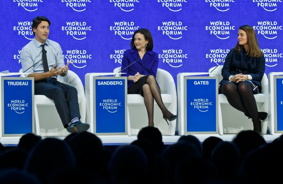 "From left, Prime Minister Justin Trudeau, CEO and member of the Board of Facebook Sheryl Sandberg and Co-Chair of Bill and Melinda Gates Foundation Melinda Gates, from left, attend a panel ""Progress toward Parity"" at the World Economic Forum in Davos, Switzerland, Friday, Jan. 22, 2016. (AP / Michel Euler)"
