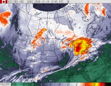 A large winter storm hits Southern Ontario as seen in this Environment Canada infrared satellite image taken 8:45 a.m. ET, Friday, Dec. 19, 2008.