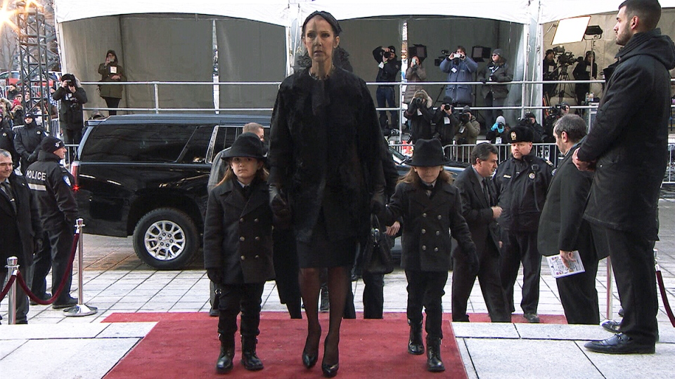 Celine Dion arrives with her family at the funeral of her late husband Rene Angelil at Notre-Dame Basilica in Montreal, Friday, Jan. 22, 2016.