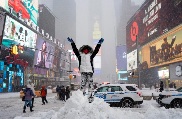 New York's Times Square during snowstorm