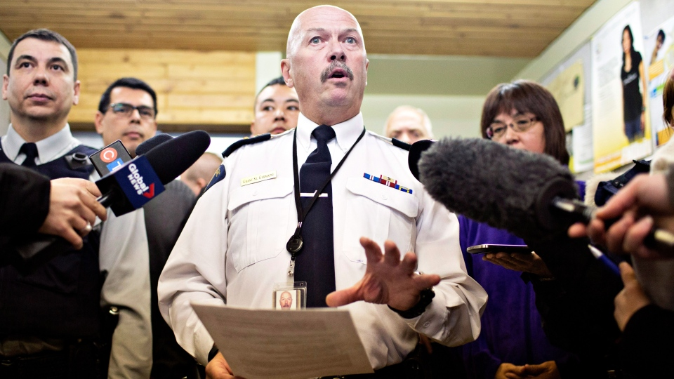 RCMP superintendent Grant St. Germaine speaks with media in La Loche, Sask., about the ongoing investigation of a Friday shooting at a school in La Loche. The shooting left four people dead. THE CANADIAN PRESS/Jason Franson