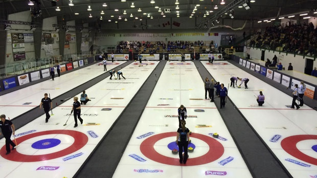 The final round robin draw at the Manitoba Scotties Tournament of Hearts in Beausejour, Manitoba on Saturday, Jan. 24, 2016.