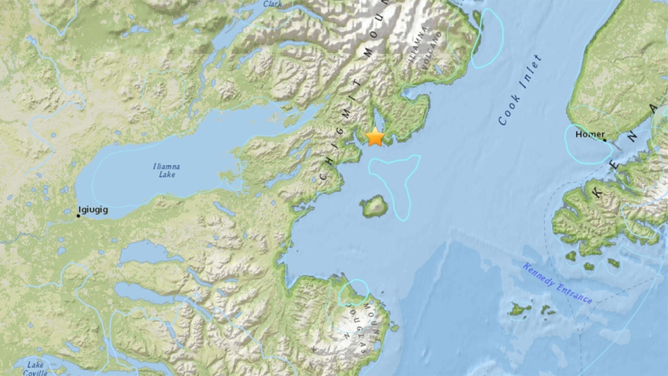 This screen shot from the U.S. Geological Survey website shows a map with a star marking the epicentre of an earthquake in Alaska on Jan. 24, 2016. (U.S. Geological Survey)