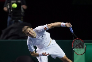 Canada's Daniel Nestor, of Toronto, Ont., serves during the fifth set of a Davis Cup tennis world group first round doubles match in Vancouver, B.C., on Saturday, March 7, 2015. (Darryl Dyck / THE CANADIAN PRESS)